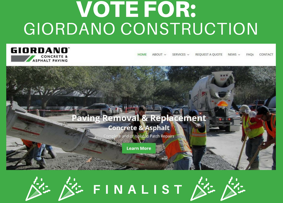 "We are finalists for ""Best of the Web"" award – Pavement Maintenance & Reconstruction's 2018"